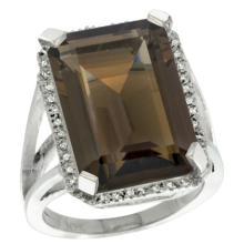 Natural 15.06 ctw Smoky-topaz & Diamond Engagement Ring 10K White Gold - SC-CW907133-REF#64V3F