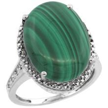 Natural 14.04 ctw Malachite & Diamond Engagement Ring 14K White Gold - SC-CW447108-REF#58H9W