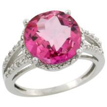 Natural 5.34 ctw Pink-topaz & Diamond Engagement Ring 14K White Gold - SC-CW406110-REF#45W5K