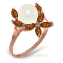 Genuine 2.65 ctw Pearl & Garnet Ring Jewelry 14KT Rose Gold - GG#3492 - REF#28V5W