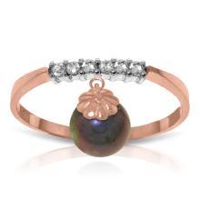 Genuine 2.1 ctw Black Pearl & Diamond Ring Jewelry 14KT Rose Gold - GG#2859 - REF#33N7R