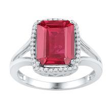 Genuine 4.66 CTW Ruby & Diamond Ladies Ring 10KT White Gold - GD103830-REF#36V2A