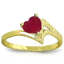 Genuine 1 ctw Ruby Ring Jewelry 14KT Yellow Gold - GG-4340-REF#43W2Y
