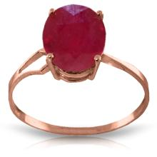 Genuine 3.5 ctw Ruby Ring Jewelry 14KT Rose Gold - GG-4174-REF#39A6K