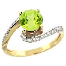 Natural 0.99 ctw peridot & Diamond Engagement Ring 14K Yellow Gold - SC-D312723Y11-REF#52Y2X