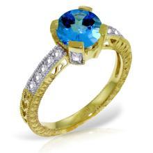 Genuine 1.80 ctw Blue Topaz & Diamond Ring Jewelry 14KT Yellow Gold - GG-3055-REF#98V3W
