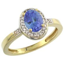 Natural 0.85 ctw Tanzanite & Diamond Engagement Ring 10K Yellow Gold - SC-CY948150-REF#28K4R