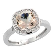 Natural 2.11 ctw Morganite & Diamond Engagement Ring 14K White Gold - SC-CW413151-REF#54M9H