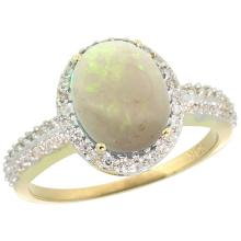 Natural 2.56 ctw Opal & Diamond Engagement Ring 14K Yellow Gold - SC-CY420138-REF#41Z7Y