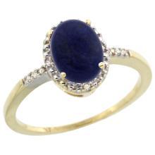 Natural 1.03 ctw Lapis & Diamond Engagement Ring 14K Yellow Gold - SC-CY446113-REF#22W3K