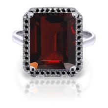 Genuine 7.7 ctw Garnet & Black Diamond Ring Jewelry 14KT White Gold - GG-5203-REF#87Y7F