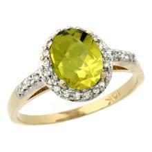 Natural 1.3 ctw Lemon-quartz & Diamond Engagement Ring 14K Yellow Gold - SC-CY427137-REF#31N7G