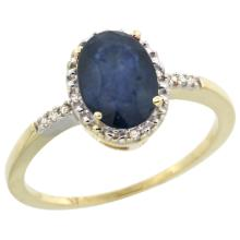 Natural 1.47 ctw Blue-sapphire & Diamond Engagement Ring 10K Yellow Gold - SC-CY916113-REF#23X2A