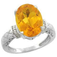 Natural 5.53 ctw Citrine & Diamond Engagement Ring 14K White Gold - SC-CW409200-REF#60A3V