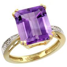 Natural 5.42 ctw amethyst & Diamond Engagement Ring 14K Yellow Gold - SC-CY401149-REF#61G9M