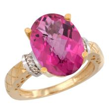 Natural 5.53 ctw Pink-topaz & Diamond Engagement Ring 10K Yellow Gold - SC-CY906200-REF#44R6Z