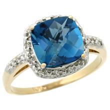 Natural 3.92 ctw London-blue-topaz & Diamond Engagement Ring 10K Yellow Gold - SC-CY905136-REF#27W3K