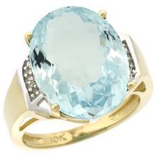 Natural 11.02 ctw Aquamarine & Diamond Engagement Ring 10K Yellow Gold - SC-CY912131-REF#137Y4X