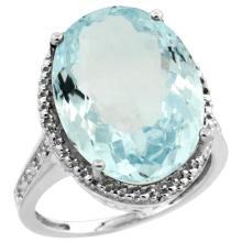 Natural 13.6 ctw Aquamarine & Diamond Engagement Ring 14K White Gold - SC-CW412108-REF#236X2A