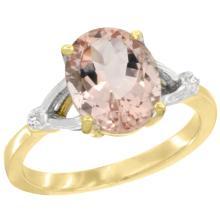 Natural 2.91 ctw Morganite & Diamond Engagement Ring 10K Yellow Gold - SC-CY913112-REF#48H6W