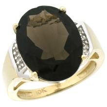 Natural 11.02 ctw Smoky-topaz & Diamond Engagement Ring 14K Yellow Gold - SC-CY407131-REF#65H8W