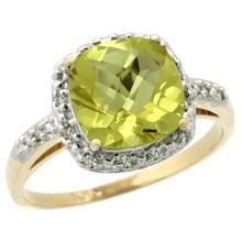 Natural 3.92 ctw Lemon-quartz & Diamond Engagement Ring 10K Yellow Gold - SC-CY927136-REF#25A5V