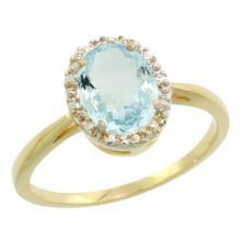 Natural 1.05 ctw Aquamarine & Diamond Engagement Ring 14K Yellow Gold - SC-CY412101-REF#30F2N