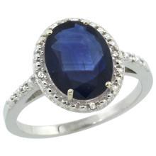 Natural 2.42 ctw Blue-sapphire & Diamond Engagement Ring 10K White Gold - SC-CW916111-REF#85R8Z