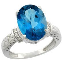 Natural 5.53 ctw London-blue-topaz & Diamond Engagement Ring 14K White Gold - SC-CW405200-REF#62N2G