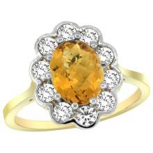 Natural 2.34 ctw Quartz & Diamond Engagement Ring 14K Yellow Gold - SC-C319661Y26-REF#80G8M