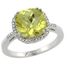 Natural 4.11 ctw Lemon-quartz & Diamond Engagement Ring 14K White Gold - SC-CW427121-REF#42H9W