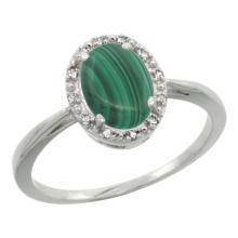 Natural 1.69 ctw Malachite & Diamond Engagement Ring 10K White Gold - SC-CW947101-REF#19M3H
