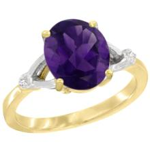 Natural 2.41 ctw Amethyst & Diamond Engagement Ring 14K Yellow Gold - SC-CY401112-REF#33H8W