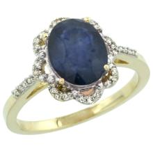 Natural 2.25 ctw Blue-sapphire & Diamond Engagement Ring 14K Yellow Gold - SC-CY416105-REF#52A3V