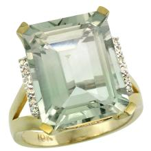 Natural 12.13 ctw Green-amethyst & Diamond Engagement Ring 14K Yellow Gold - SC-CY402143-REF#71Y2X
