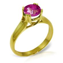 Genuine 1.10 ctw Pink Topaz Ring Jewelry 14KT Yellow Gold - GG-3154-REF#57M6T