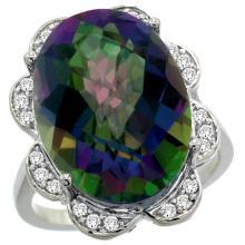 Natural 13.83 ctw mystic-topaz & Diamond Engagement Ring 14K White Gold - SC-R308021W08-REF#124R4Z