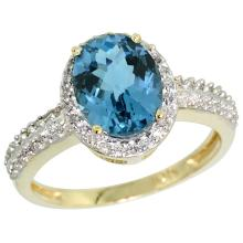 Natural 1.91 ctw London-blue-topaz & Diamond Engagement Ring 14K Yellow Gold - SC-CY405139-REF#41X7A