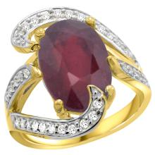 Natural 6.74 ctw ruby & Diamond Engagement Ring 14K Yellow Gold - SC-R308101Y14-REF#142A8V