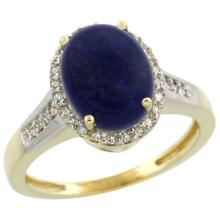 Natural 2.49 ctw Lapis & Diamond Engagement Ring 14K Yellow Gold - SC-CY446109-REF#39H8W