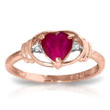 Genuine 1.01 ctw Ruby & Diamond Ring Jewelry 14KT Rose Gold - GG-4343-REF#46P3H
