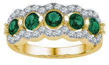 Genuine 2.0 CTW Emerald & Diamond Ladies Ring 10KT Yellow Gold - GD103768-REF#53X9Y