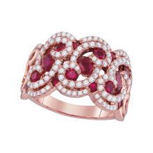 Genuine 1.95 CTW Ruby & Diamond Ladies Ring 14KT Rose Gold - GD103397-REF#224G9M