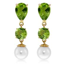 Genuine 10.5 ctw Peridot & Pearl Earrings Jewelry 14KT Yellow Gold - GG#1957 - REF#40P9H