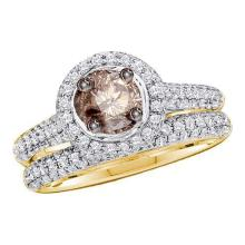 14K Yellow Gold Jewelry 1.23 ctw White & Cognac Diamond Bridal Ring Set - WGD75568 - REF#K66V2