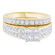 14K Yellow Gold Jewelry 1.57 ctw Diamond Bridal Ring Set - WGD44605 - REF#F156L1