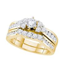 14K Yellow Gold Jewelry 1.0 ctw Diamond Bridal Ring Set - WGD52749 - REF#M114Y2