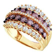 14K Yellow Gold Jewelry 3.0 ctw White & Cognac Diamond Ladies Ring - WGD47210 - REF#J168X2