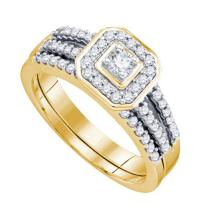 14K Yellow Gold Jewelry 0.52 ctw Diamond Bridal Ring Set - WGD74351 - REF#L54N1