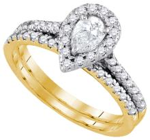 14K Yellow Gold Jewelry 0.75 ctw Diamond Bridal Ring Set - WGD92923 - REF#P90J1